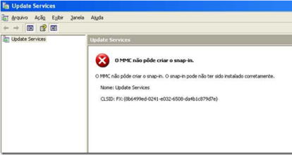 WSUS console fails with
